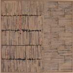 VII /15, Zeitungscollage auf Lw., 80 x 80 cm, Privatsammlung