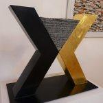 X2 /2016 Corten-Stahl farbig, Granit u. Blattgold
