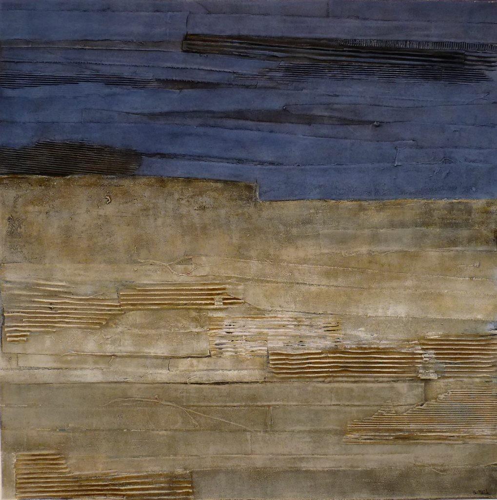 Collage,Wellpappe u. Acryl 80x80 cm