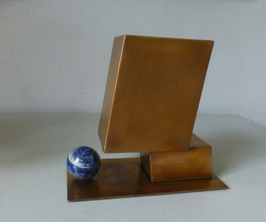 Gieriger Kopf /2021, Bronze u. Lapislazuli